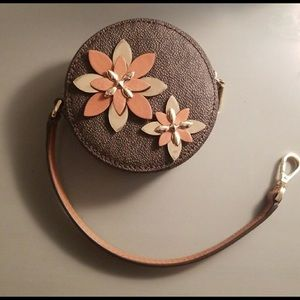 Michael Kors Brown/Gold Flowers Coin Pouch Wallet